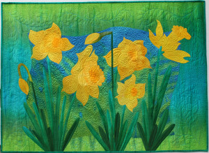 "Spring's Greeting 40"" x 50"" cotton and silk."