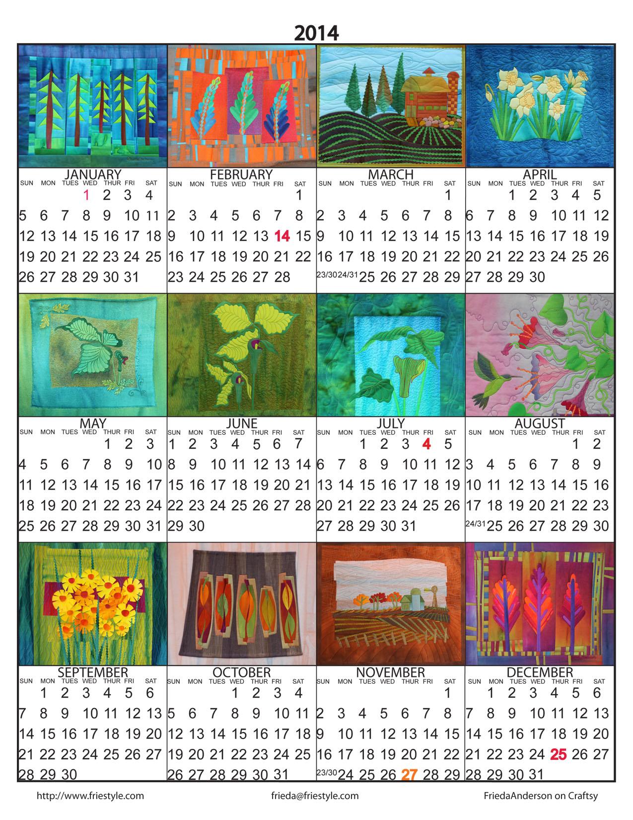 Frieda Anderson 2014 Calendar