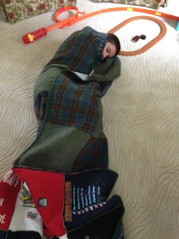 Tyler in his quilt